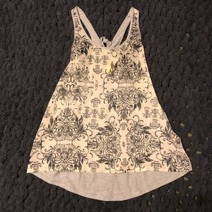 Cute black and and gray tank top with print detail